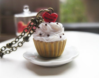 Valentine Cupcake with Red Heart Necklace _ French Patisserie_ Polymer Clay _ Foodie Gift _ Food Jewelry _ Cupcake Collection