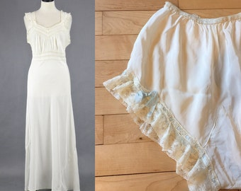 1940s Nightgown Set with Silk Ribbon Lace Trim Underwear & Top, 40s Lingerie, Ivory Bias Cut Bridal Nightgown