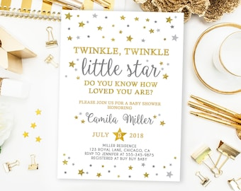 Twinkle Twinkle Little Star Baby Shower Invitation, Gender Neutral Twinkle Twinkle little star Invitation, Gold glitter printable customized
