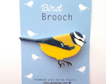 Bluetit Bird Shrink Plastic Brooch Pin