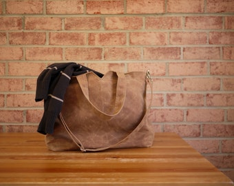 Waxed Canvas Zipper Tote Messenger in Spice- Vegan Unisex Carry All Day Bag (Made to Order)