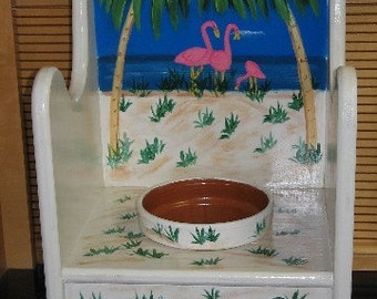 Flamingo Flower Pot Chair Hand Painted Handcrafted Flamingo's Palm Trees