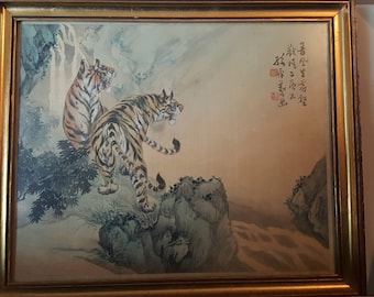 Tiger legends painting on silk by artist Sun Baoyi