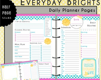 Half Page UNdated Daily Planner Inserts - EVERYDAY BRIGHTS- Bonus Notes/Journal Page