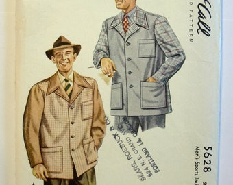 1940s Mens Two Tone Leisure Sport Jacket Pattern McCalls 5628 Size 38-40