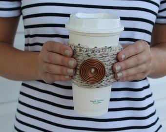 Button Crochet Coffee Sleeve / Trendy Reusable Coffee Jacket / Crochet Beverage Insulator