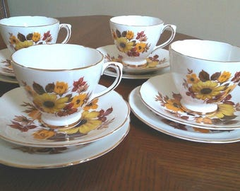 Set of 4 Royal Sutherland Superb Condition Fine Bone China Vintage 1960s Yellow Floral Trios of Cups Saucers and Plates