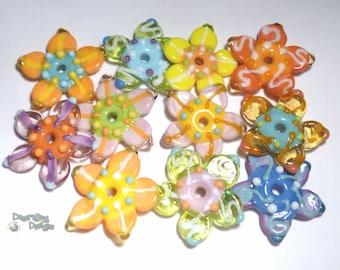 FLOWER FIESTA Lampwork Beads Handmade Flat Flower beads in Pastel Mix of Pink Green Melon Blue Yellow More Set of 11