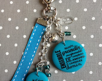 "keychain or bag charm ""set, I love my goddaughter"""