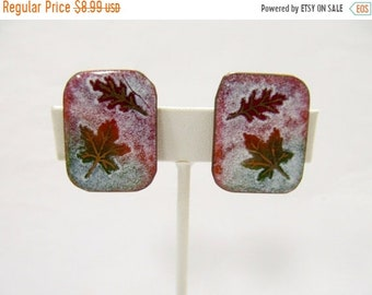 On Sale Vintage Modernist Copper Enameled Leaf Earrings Item K # 2476