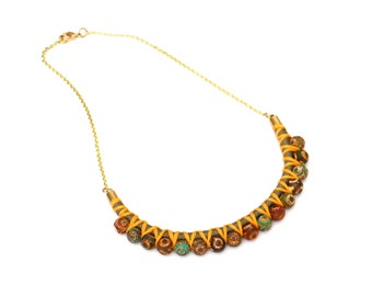 Agate Beaded Statement Rope Necklace For Women, Multi Color Gemstone Necklace For Her, Textile Jewelry