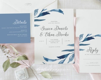 Navy Wedding Invitation, Printable Wedding Invitation Set, Rustic Wedding Invitation Suite, Floral Wedding Invites, Custom Invitations
