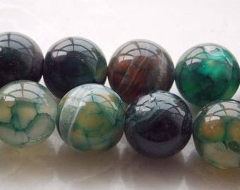 Gorgeous 4 green 12mm agate round beads