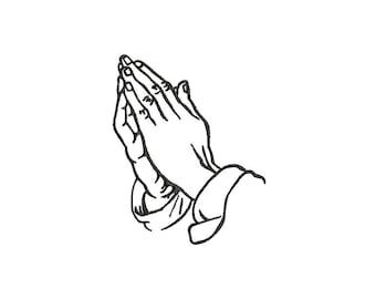 PRAYING HANDS - machine embroidery design - Instant Download