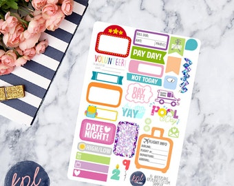 Large Sampler Planner Stickers. Set of 30. Perfect for Erin Condren Life Planners! 054