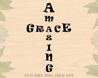 Amazing grace SVG Christmas svg Christian svg Cross svg Jesus svg Dxf Eps Cricut downloads Cricut files Silhouette files Silhouette designs