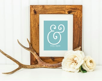 "Ampersand Modern Bedroom Decor . Wedding Gift Graphic Typography Love Print Personalized You Me ""&"" Punctuation Anniversary Romantic Bedroom"