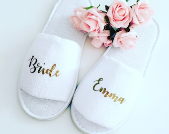 Personalised wedding slippers, bridal party slippers, bride slippers, bridesmaid slippers, wedding slippers, bridal slippers, hen weekend