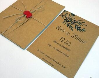 Rustic Wedding Invitations, Rustic Seal Invitations, Wedding Announcements, Seal and Send Wedding Invitations, Cachet Invites, 1 INVITATION