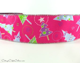 "Christmas Wired Ribbon, 2 1/2"", Fuschia Pink Christmas Trees, TWENTY FIVE YARD Roll, ""Trees on Parade"" L896136  Wire Edged Ribbon"