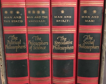 The World's Great Thinkers • vintage rare books • philosophy boxed set • 1947 • leather cloth gilt lettering gift