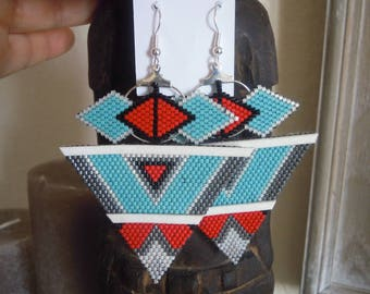 Ethnic Navajo style beadwork earrings