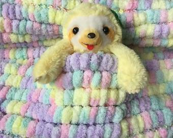 Ice Cream Pink Pom Pom Baby Blanket