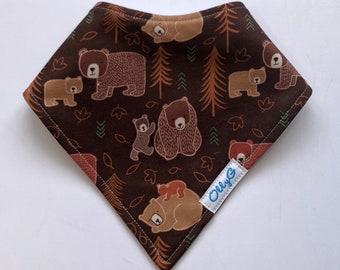 TRIPLE LAYERS - Dry Bub Bandana Bib -  Bears in the woods