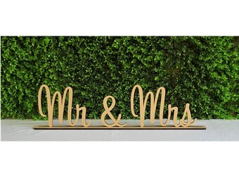 Wedding Mr & Mrs Wooden Letters Freestanding Sign with base