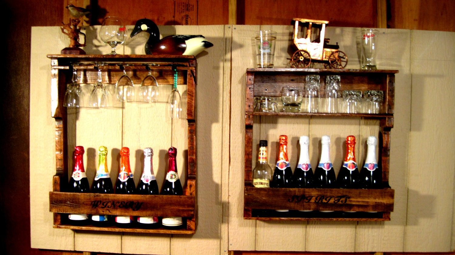 Wood Wine Liquor Home Mini Bar Pallet Rack Shelf