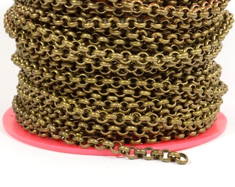 5ft 5.7mm Rolo Chain - Antique Brass - 5.7mm Links - CH81
