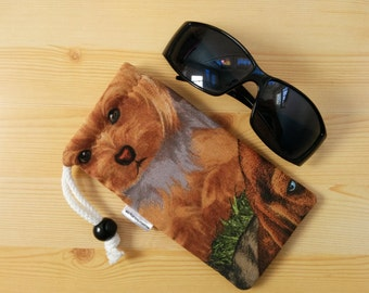Glasses case,sunglasses case,dogs pouch,cats case,quilted glasses case,sunglasses cover,glasses bag,glasses soft case,dogs print,dogs bag