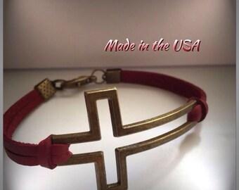 Open cross bracelet. Sideways cross bracelet. Leather cross bracelet. Christian bracelet. Christian jewelry. Cross bracelet. Bronze cross