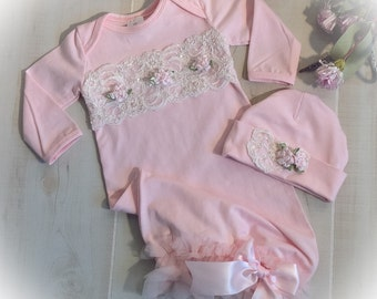 Newborn Gown, Baby Girl Coming Home Outfit, Pink and Ivory Coming Home Gown, Baby Girl Take Home Outfit, Newborn Girl Layette