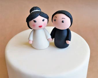 Fondant bride and groom cake topper, wedding topper, wedding cake decoration, wedding couple, fondant bride, fondant groom, couple topper