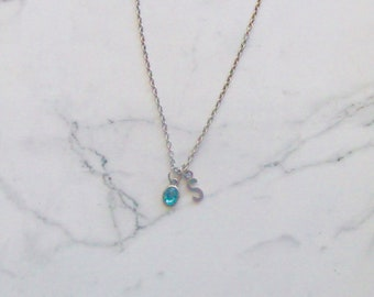 Initial Birthstone Pendant Necklace