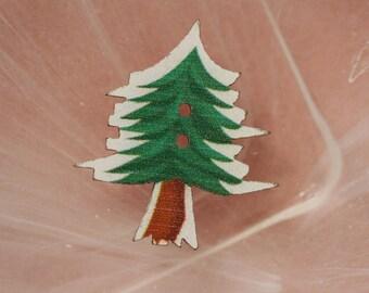 Scrapbooking green fir tree button
