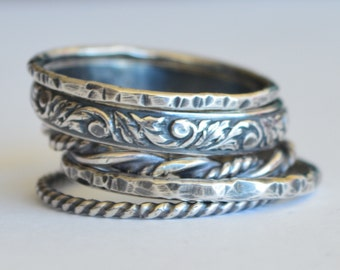 Ornate Sterling Silver Set of Five Antiqued rings