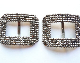 Pair of Antique French Cut Steel Buckles Made in France Riveted Cut Steel Sash Scarf Victorian from TreasuresOfGrace