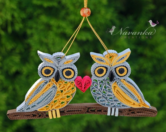 Paper Quilling Owls on a branch -Together Forever Paper Quilled Owls Ornament Wedding Paper Anniversary Shelf decor Valentines Day Christmas