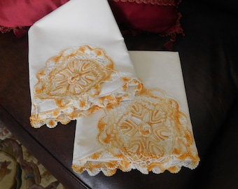 Early 40s Victorian Gold Pillowcase Pair