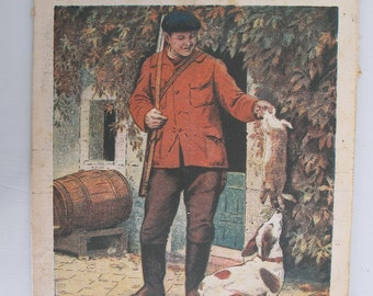 1948, French review, RUSTICA, Hunter and his dog in a farm, antique French Hunting illustration