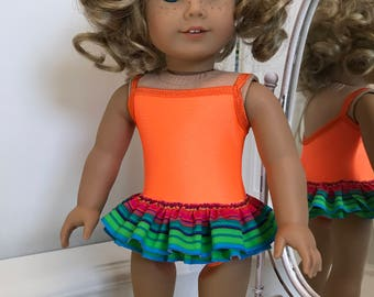 NEW! American Made One-piece double ruffled Swimsuit to fit 18 inch doll