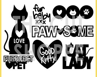 The Happy Kitty cut file consists of 6 cat themed icons, that can be used for your scrapbooking and papercrafting projects.