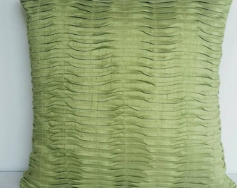 light lime green pleated pillow. Lime green decorative floor pillow. Ligh lime green euro sham pintuck cover 26inch 2 in stock ready to ship