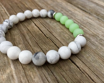 White and Lime Green Beaded Bracelet