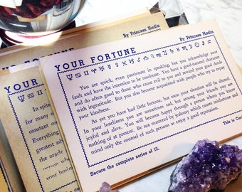 Original Vintage 1950's Your Fortune Cards - 12 Fortunes by Princess Hadja - Arcade Cards