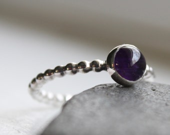 Amethyst Stacking Ring Sterling Silver -  February Birthstone