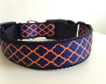 Large Blue and Orange Quatrefoil Auburn Tigers Dog Collar