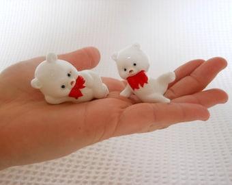 2 Little White Bears Ceramic Figures